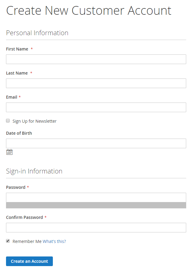 How is the customer registration form create new for New account application form template