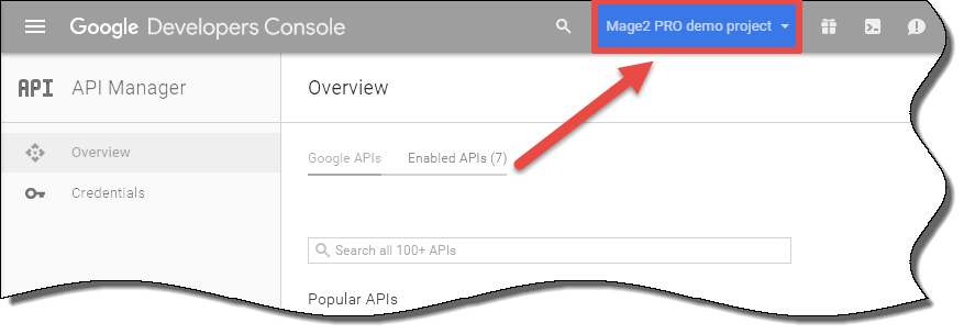 How to open the API Manager in the Google Developers Console