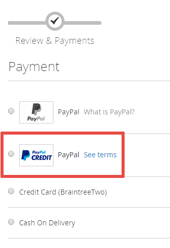 What is the «PayPal Credit» payment option? - Magento 2