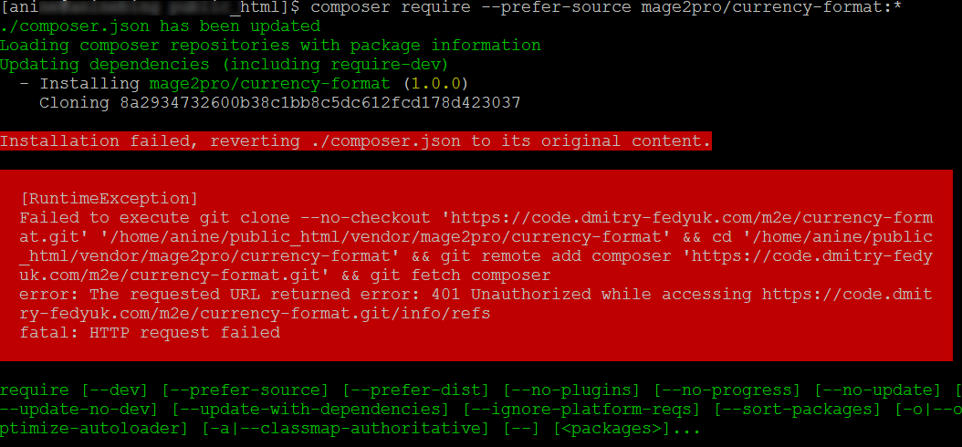 How to fix the «Failed to execute git clone    401 Unauthorized