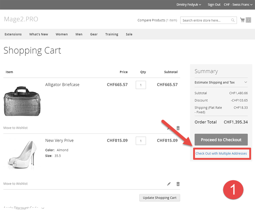 An example of a multishipping checkout with Stripe payment - Magento 2