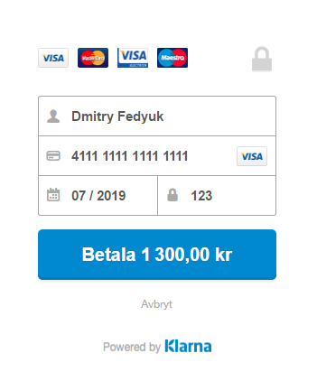 Klarna] The test bank card - Magento 7