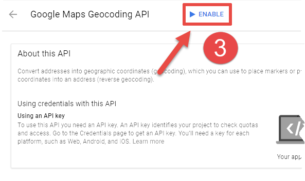 How to generate a key for the Google Maps Geocoding API