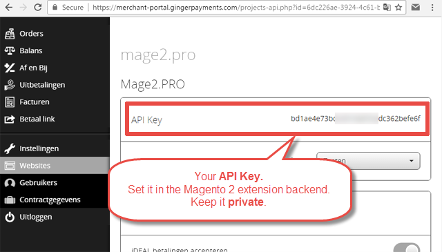 Ginger Payments] Where is my API Key located? - Magento 2