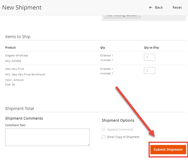 How is «Submit Shipment» implemented? - Magento 2